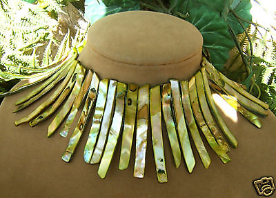 Mossy Ivy Green Mother Of Pearl Necklace Big Collar Xl Genuine Ocean Jewelry Xl