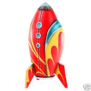 Retro rocket red comet spaceship kiln dry wood model ebay - Rocket ship piggy bank ...