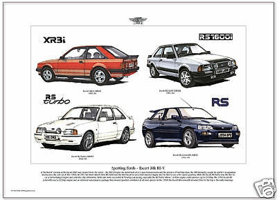 FORD ESCORT MK III a MkV Arte Grafica A3 tamaño XR3i RS Turbo RS1600i