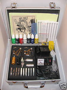PRO-Tattoo-kit-2-machines-guns-Needles-Ink-Tips-Grips