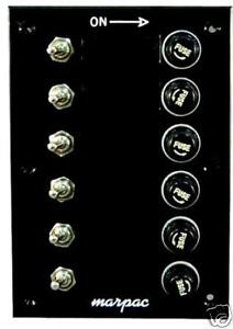 new marine switch panel control board toggle fuse 6 gang 7. Black Bedroom Furniture Sets. Home Design Ideas