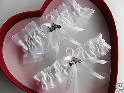 Harley Motorcycle Wedding Garter SET White ON White - Motorcycle Wedding Accessories