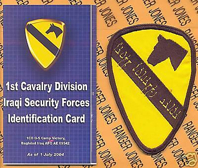Us Army 1st Cavalry Division Oif iraqi Security Forces Patch Card Set
