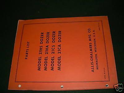 Allis-chalmers 21 Dozer Parts List Manual Book