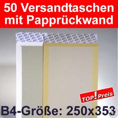 50 Versandtaschen B4, Papprückwand, Haftklebung, Braun - verstärkte Umschläge