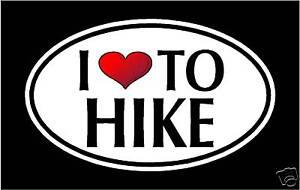 "hiking 5.75/"" I LOVE TO HIKE vinyl decal sticker."