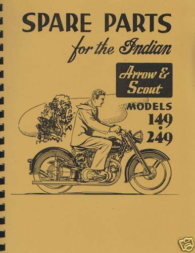 Vertical Indian Motorcycle Arrow / Scout Parts List / Manual Reprnt