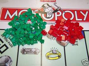 20 RED HOTELS & 50 GREEN HOUSES FOR MONOPOLY BOARD GAME SPARES