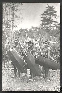 3 Dayak Warriors photo postcard Borneo Malaysia 20s