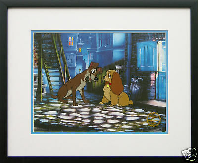 """Disney Framed Animation Cel """"Lady and the Tramp"""" gift dog free background"""