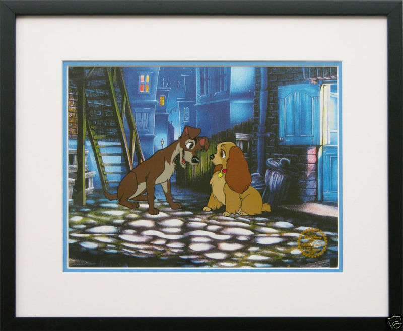 "Disney Framed Animation Cel ""Lady and the Tramp"" gift dog free background"
