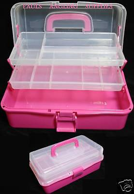 Pink fishing tackle box cantilever type new ebay for Pink fishing gear