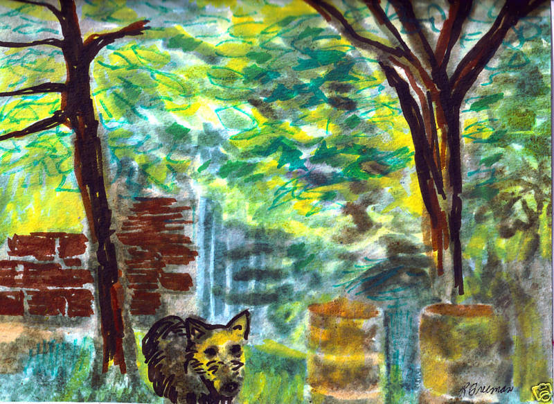 "BACK YARD FREEMAN WATERCOLOR 9 1/2"" X 11 3/4"""