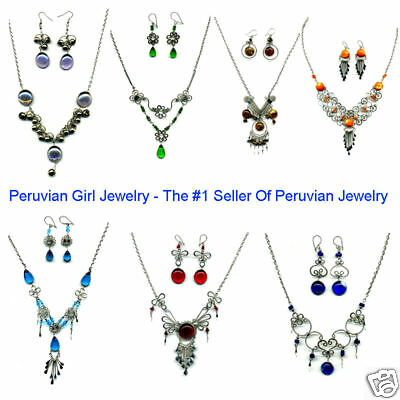 40 MURANO GLASS NECKLACES EARRINGS PERUVIAN JEWELRY LOT PERU ALPACA SILVER