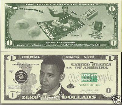 Obama Funny Money Zero Dollars Novelty Dollar Bill