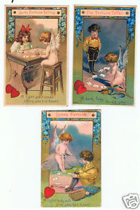 Lot-of-3-Old-Embossed-VALENTINE-DAY-Postcards-Fortune-Telling