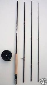 Fly Fishing Kit. 8ft, 4 Section Carbon Fly Rod And Reel (AFTMA 4) #