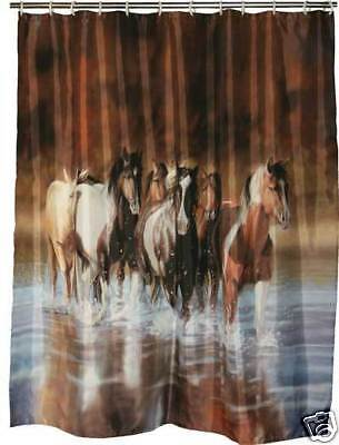 Horse Shower curtain! Western Horses Bath Art on Rummage