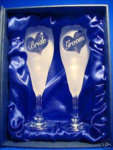 Bridal/Wedding Toasting Flutes - Bride & Groom - boxed.