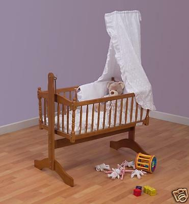 Cream 3piece Swinging Crib Bedding Set + Mattress + Rod
