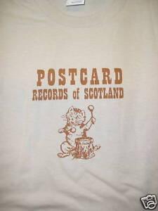 POSTCARD-RECORDS-T-SHIRT-SAND-NEW-SIZE-XLARGE-AZTEC-CAMERA-ORANGE-JUICE