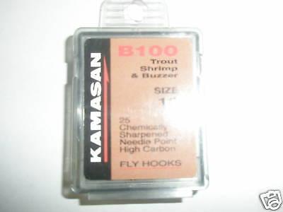 Kamasan 2 X B100 Boxed Fly Hooks Sz10 Shrimp + Buzzer