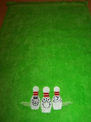 Embroidered Bowling Towel 11x18 3 Happy Pins Plush Personalized Free