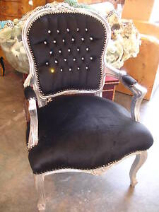 FRENCH LOUIS SHABBY BLACK & SILVER DIAMANTÉ CHIC CHAIR @ AUNTIES PARLOUR WOW!