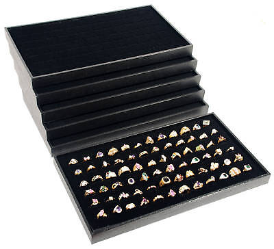 6 Black Plastic Stackable Display Travel Trays w/ Ring Pads Jewelry Organizer