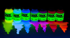 Blacklight Watercolor Paint / Ink / Dye (7 Color Pack) UV Fluorescent Neon GLOW!