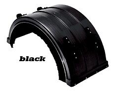 Semi Truck Heavy Duty Big Truck Black Poly Fenders Complete Set with
