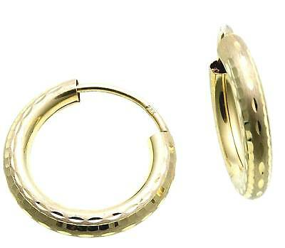 Hoop Earrings Gold 333 Shiny 15 Mm Decorated Yellow Gold Quality Unisex