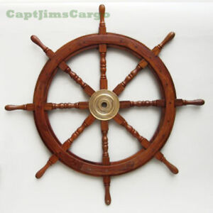"Nautical Wall Decor large 36"" boat ship wooden steering wheel brass center nautical"