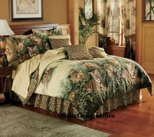 JUNGLE-LION-TIGER-LEOPARD-SAFARI-ANIMAL-PRINT-Queen-Size-Bed-Comforter-Set