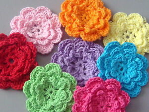 40-Handmade-Crochet-Flower-Appliques-Sewing-Bow-A136