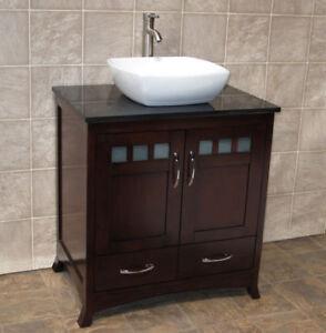 30 bathroom vanity cabinet black stone granite top ceramic vessel sink