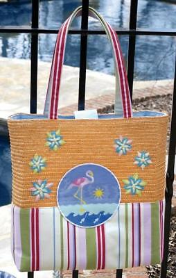 Pink Flamingo Canvas & Straw Heavyduty Beach Bag