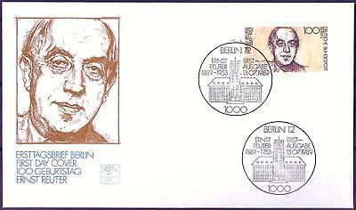 Berlin 1989: Ernst Reuter! FDC der Nr 846 mit zwei Ersttagssonderstempeln! 1702