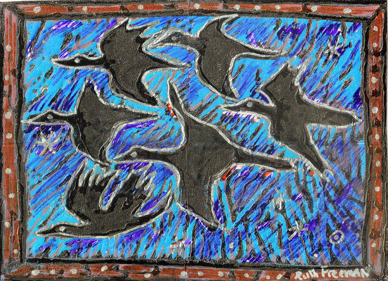 "'FLOCK""by RUTH FREEMAN MIXED MEDIA 8"" X 10 3/4"""