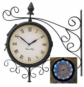 Bracket-Outdoor-Solar-Powered-LEDs-Wall-Clock-Thermometer-Garden-Double-Sided
