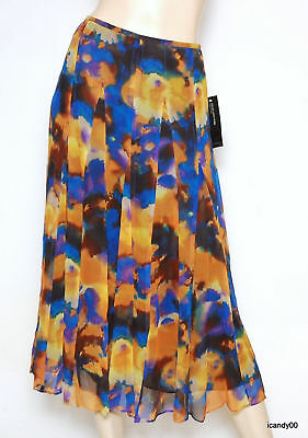$129 Jones Ny York Surabaya 2 Silk Long Below Knee Skirt Lapis/multi 6