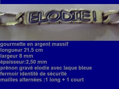 Gourmette Gravée Elodie Laquée Bleue Argent Massif