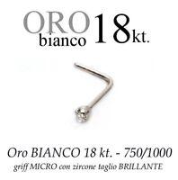 Piercing Da Naso Oro Bianco 18kt.a Griff Micro Zircone -  - ebay.it