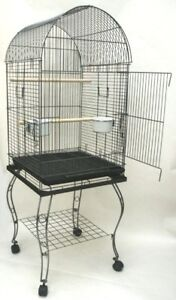 Parrot Bird Cage Cages Dome Top  W/Stand 20x20x57 0103