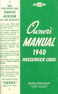 1940 Chevrolet Passenger Car Owners Manual