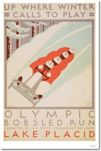 Lake Placid Olympic Bobsled Vintage Art Print POSTER | eBay