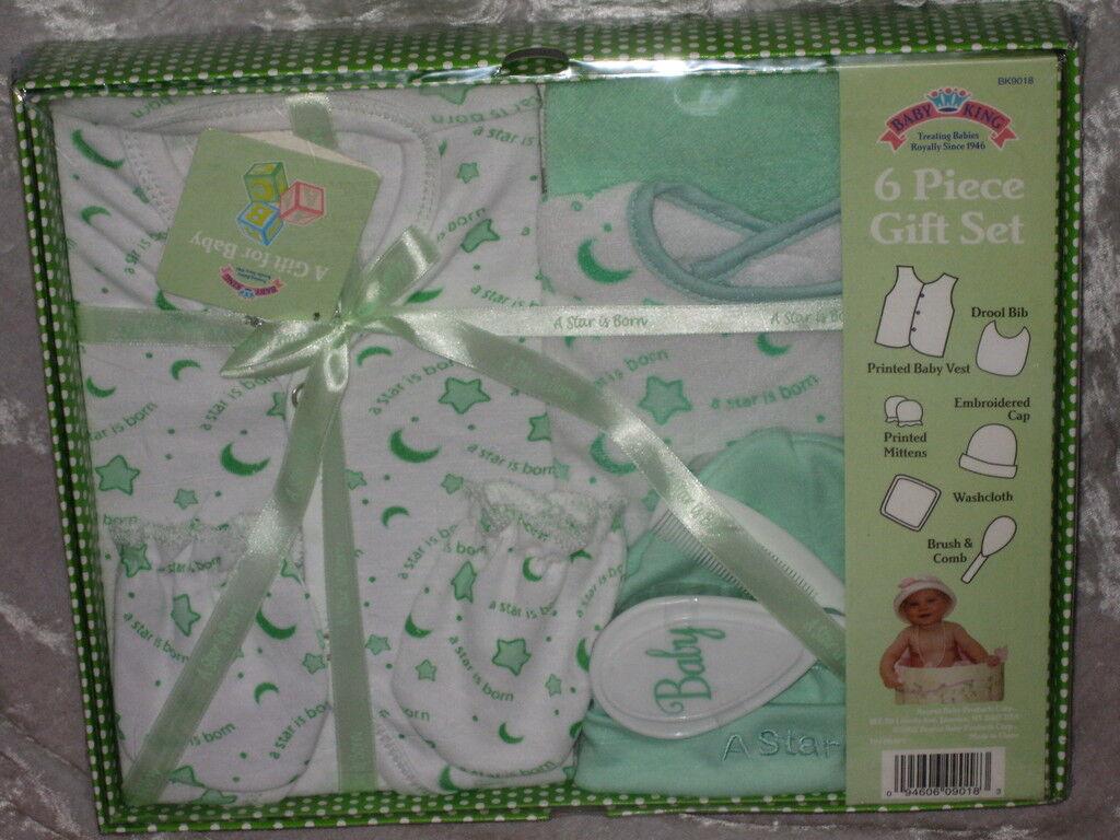 6 Pc Layette Set Baby Green Vest Cap Mittens Bib
