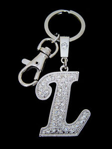 A-Z INITIAL LETTER KEY CHAIN RING HOLDER CLEAR CRYSTALS