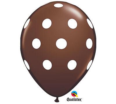 Big Polka Dots 11 Balloons Chocolate Birthday Baby Shower Bridal & Free Ribbon