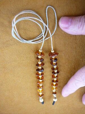 E98-2) Amber Genuine Orange Golden Eyeglass Leash Holder Chain